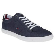 New Mens Tommy Hilfiger Blue Howell Canvas Trainers Lace Up