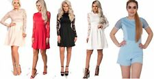 New Womens Stunning Lace Floral Party Skater Dress Formal Ladies Dress
