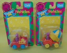 1993 Child Dimension set of 2 Diecast Barney Vehicles NEW Fire Truck Cement  A+