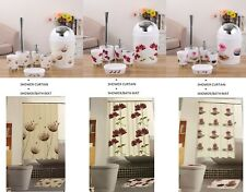 6 Pc Bathroom Accessory Set With Shower Curtain and Non Slip Bath/Shower Mat