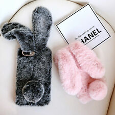Girl Cute Rabbit Bunny Ears Fluffy Soft Warm Fur Case Cover For iPhone Samsung