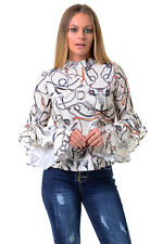 Womens Ladies SEXY Choker Collar Keyhole Floral Frill Sleeve Loose Blouse Top.