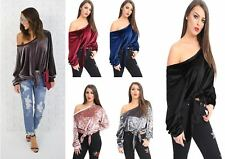 Women Designer Stars Look Off Shoulder Party Club Evening Velvet Dress Shirt Top