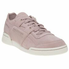 New Womens Reebok Pink Workout Lo Plus FBT Suede Trainers Court Lace Up