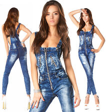 Sexy New Womens Denim Navy Blue Jeans Jumpsuit BIB Overall With Zippers N 818