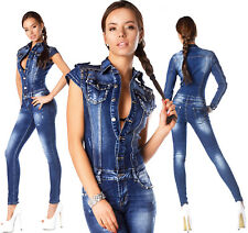 Sexy New Womens Denim Navy Blue Denim Jeans Jumpsuit Overall With Studs R 885