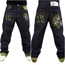 DIRTY MONEY Uomo Largo CAMOUFLAGE jeans, urban hip hop rock Skate indaco