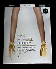 M&S Autograph Sizes S M Hi Heel Hosiery Bare Cooling Tights 7 Den Black