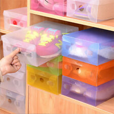 New Transparent Clear Plastic Foldable Stackable Shoe Box Storage Organizer