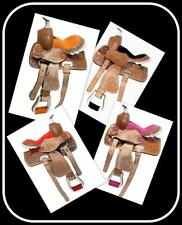 "12"" Western Saddle Mini Pony PINK RED BLACK ORANGE Suede Seats Leather Oak Leaf"