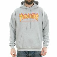 Thrasher Magazine Grey Flame Logo Hooded Sweatshirt Hoodie New Free Delivery