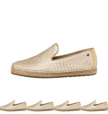 OFFERTA UGG Womens Sandrinne Metallic Basket Espadrilles Soft Gold Leather UK 3