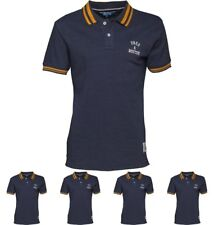"""BRANDS Fred & Boston Mens Pique Polo Blue Marl Small Chest 36-38"""""""