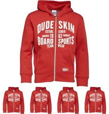 DI MODA Dudeskin Boys FZ Hooded Sweatshirt Red Marl 2-3 Years 92cm Height Size 2