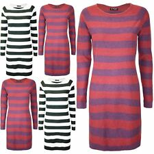 New Womens 2 Tone Long Sleeve Ladies Knitted Contrast Stripes Mini Long Dress