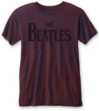 THE BEATLES' Drop T Logo (Navy/Red )' Burnout T-shirt - NUOVO E ORIGINALE