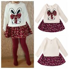 Lovely Girls Kids Baby Outfits Rabbit Flower Print Princess Dress Party Clothes