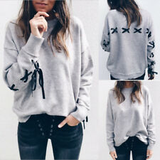 Ladies Loose Swearshirt Strappy Long Sleeve Winter Pullover Tops Outwear Coats