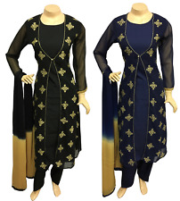 Indian Pakistani Embroidered Georgette Jacket Suit, Crepe Salwar Kameez Shalwar