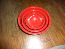 SET OF 3 POTTERY BARN KIDS RED BOWLS