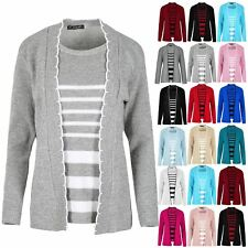 Ladies Inserted Twin Cardigan Jumper Womens Long Sleeves Open Front Sweater Top