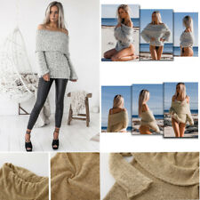 Women Knitted Sweater Off Shoulder Pullover Jumper Long Sleeve Outwear Tops Coat