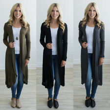 Ladies Extra Long Sweater Long Sleeve Solid Cardigan Autumn Outwear Coat Tops