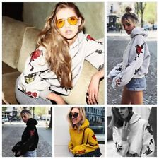 Women Hoodies Pullover Floral Hooded Sweatshirt Outwear Coat Tops Jumper Sweater