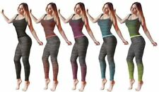 Womens Fitness Gym Workout Jogging Sports Exercise 2 Piece Vest and Leggings Set