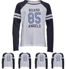 FASHION Board Angels Girls Raglan Long Sleeve Top With Floral 85 Print White/Na