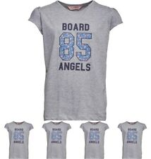 FASHION Board Angels Girls T-Shirt With Floral 85 Print Grey Marl 5-6 Years 110