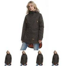 FASHION Trespass Womens Clea Insulated Waterproof Parka Jacket Dark Khaki UK 8