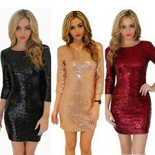 Women Sexy Long Sleeve Party Evening Cocktail Sequins Bodycon Club Mini Dress