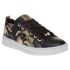 New Womens Ted Baker Black Multi Ahfira Leather Trainers Court Lace Up