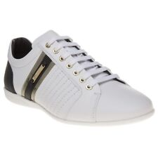 New Mens Versace Collection White Formal Leather Trainers Lace Up