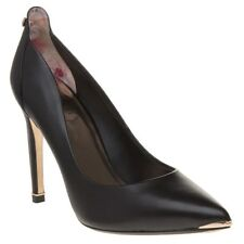 New Womens Ted Baker Black Melisah Leather Shoes High Heels Slip On