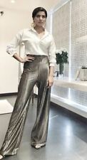 ZARA STRIPED VELVET LOOSE FIT PALAZZO TROUSERS SIZE M L REF 5093 208