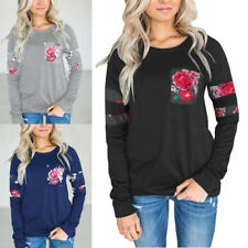 Womens Autumn Floral Print Tops Single Pocket Long Sleeve T-Shirts Blouse Tee