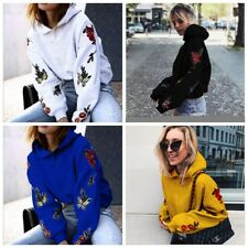 Ladies Hoodies Floral Outwear Casual Tops Long Sleeve Sweater Jumper Sweatshirt