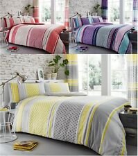 Charter Stripe Duvet Quilt Cover Polycotton Printed Bedding Set All Sizes