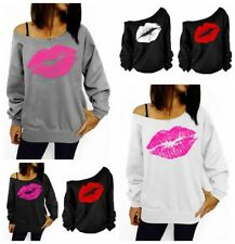 Womens Loose Sweater Pullover Lip Print Off Shoulder Outwear Jumper Blouse Tops