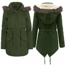 Womens Plus Size Quilted Padded Jacket Faux Fur Hooded Parka Coat - CLEARANCE