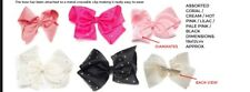 Hair Bow with Diamante's & Crocodile Clip Different Colours Available