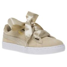 New Womens Puma Taupe Suede Heart Safari Trainers Court Lace Up