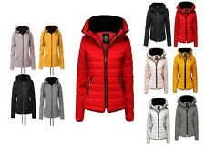 Womens Ladies Quilted Padded Puffer Bubble Fur Collar Warm Hood Zip Jacket Coat