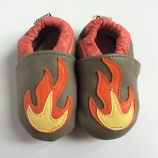 Baby Leather Soft Shoes Boy Girl Flame Slip On Pram Shoes, Newborn Slippers 0-6m