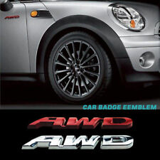 Car Chrome AWD Emblem Badge Metal Sticker Decal 4 Wheel Drive SUV Off Red/Silver
