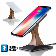 Wood Fast Qi Wireless Charger Charging Holder Stand For iPhone X 8 Plus Samsung