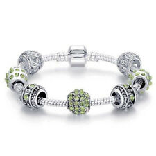 925 Silber Bettelarmband  mit 7 Charms 19cm-23cm Art Pandora (green)
