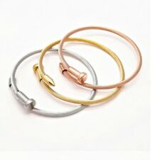 Women Trendy Quality 316L Stainless Steel Nail Design Cuff Bangle Jewellery UK